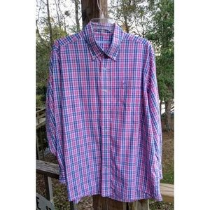 Southern Tide Pink Blue Plaid Button Sport Shirt